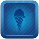 Cone Ice Cream Blue Icon