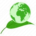 Earth on leaf icon
