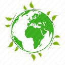 Earth with leaves icon
