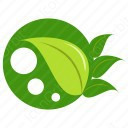 Three Green leaves with leaf icon