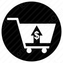 shopping cart up arrow icon