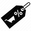shopping tag with percent and cart icon