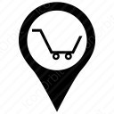 shopping cart with places icon