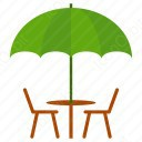 umbrella table chairs icons