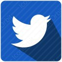 twitter white and blue shadow icon