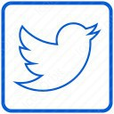 twitter plain white and blue icon