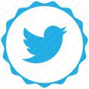 twitter white and sky blue plain icon