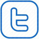 twitter plain blue box and white icon