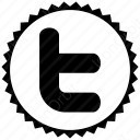 twitter black t icon