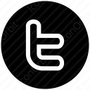 twitter t white and black icon