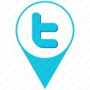 twitter skyblue and white location icon