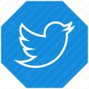 twitter white plain and blue icon