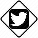 twitter white black and diamond icon
