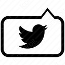 twitter message black and white  icon