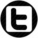twitter t white and black circle icon