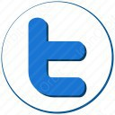 twitter t blue and white circle icon