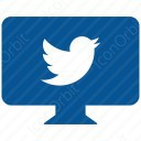 twitter white and sky blue message icon