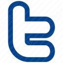 twitter t blue plain icon