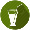 Juice with straw and glass icon