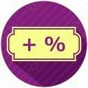 Symbol with plus and percent icon