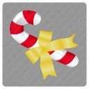 Christmas Candy Cane With Yellow Knot icon