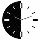 Clock With Half black and white icon