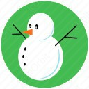 Snow Man in Green Circle icon