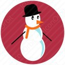 Snow Man in Red Circle icon