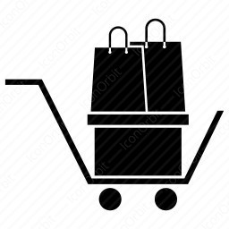 shopping cart with bag icon