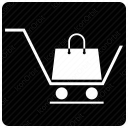 shopping basket with bag icon