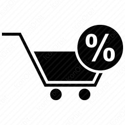 shopping cart with percentage icon