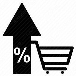 Shopping Cart with up arrow icon
