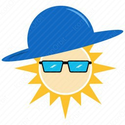 Sun with Hat and Spec icon
