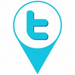 Twitter Skyblue And White Location Icon Iconorbit Com