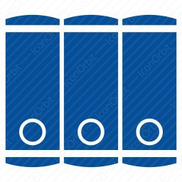 Library of three vertical files  icon