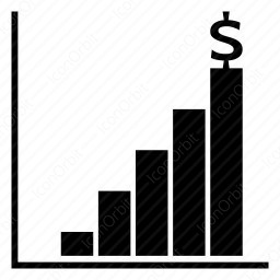 Rising bar graph with dollar icon